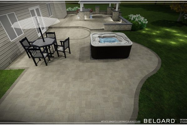 Extended Paver Patio with hot tub