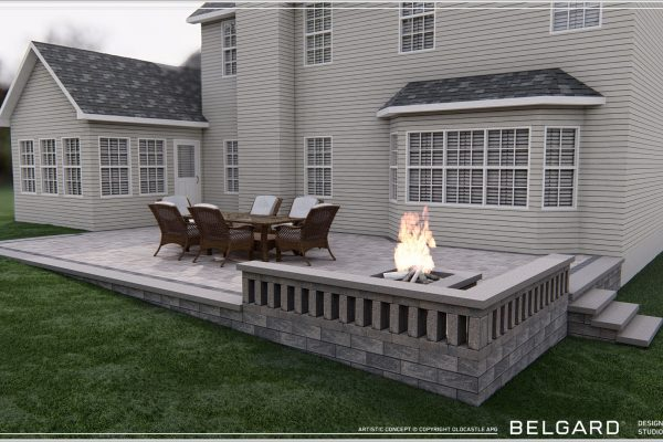 Right side view of patio and fireplace