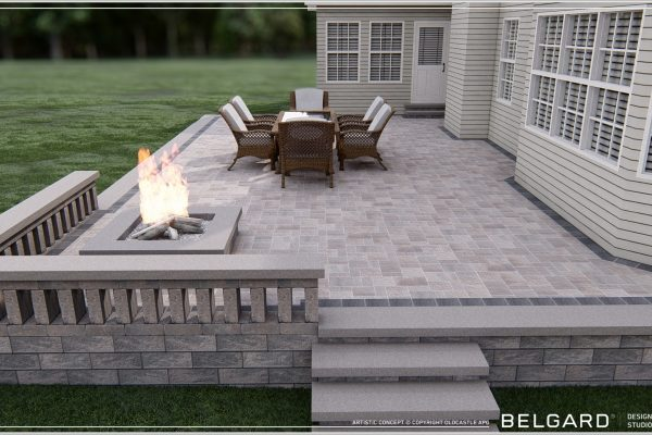 Steps up to paver patio and fireplace