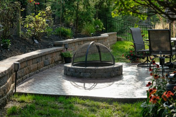 paver patio with fire pit dome
